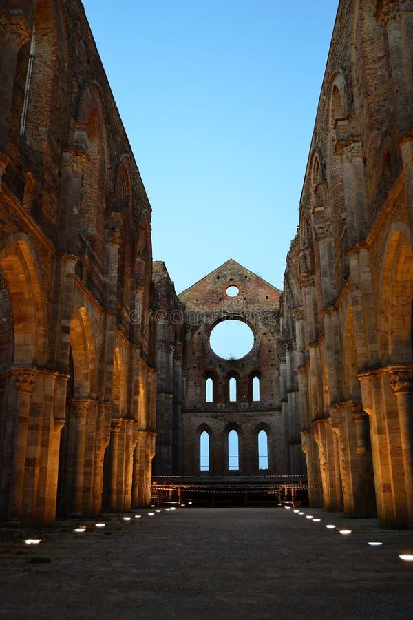 Abbey of St. Galgano by night, Tuscany stock images