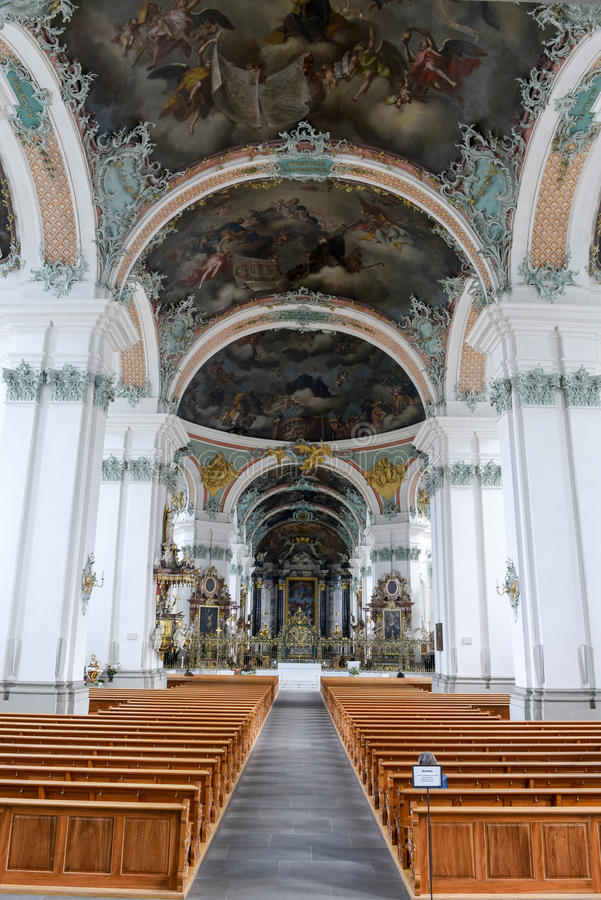 Abbey of St. Gallen on Switzerland. Interiors of the Abbey at St. Gallen on Switzerland, Unesco world heritage royalty free stock images