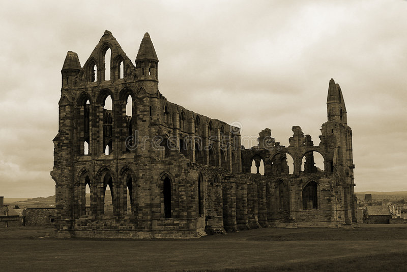 abbey whitby sepiowy obraz stock
