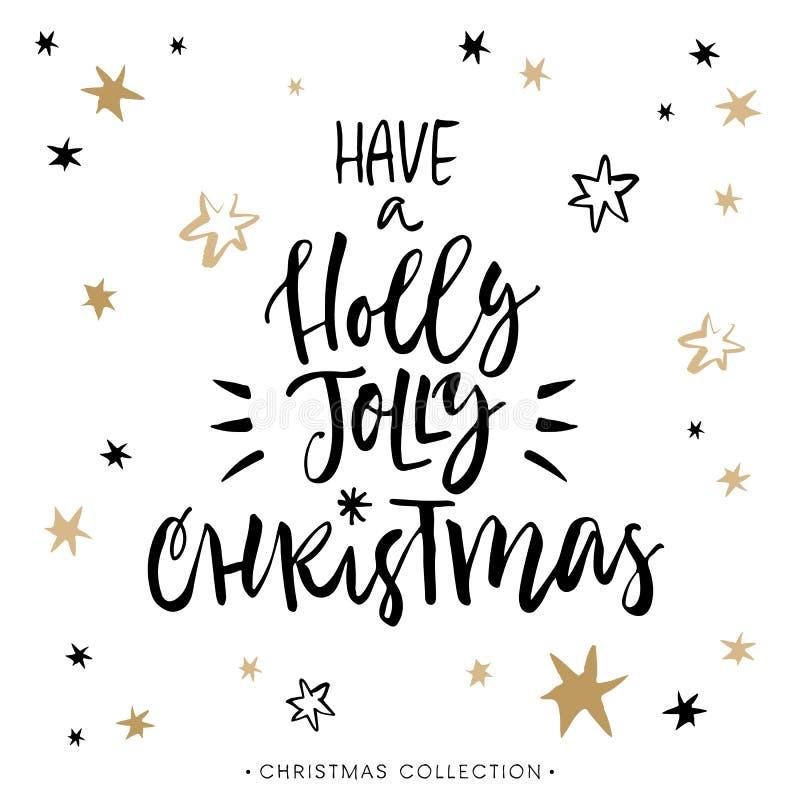 Abbia Holly Jolly Christmas! Cartolina d'auguri di Natale illustrazione vettoriale