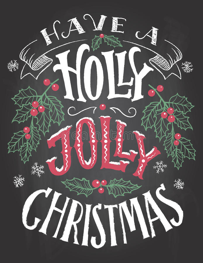 Abbia un'iscrizione allegra della mano di Natale dell'agrifoglio royalty illustrazione gratis