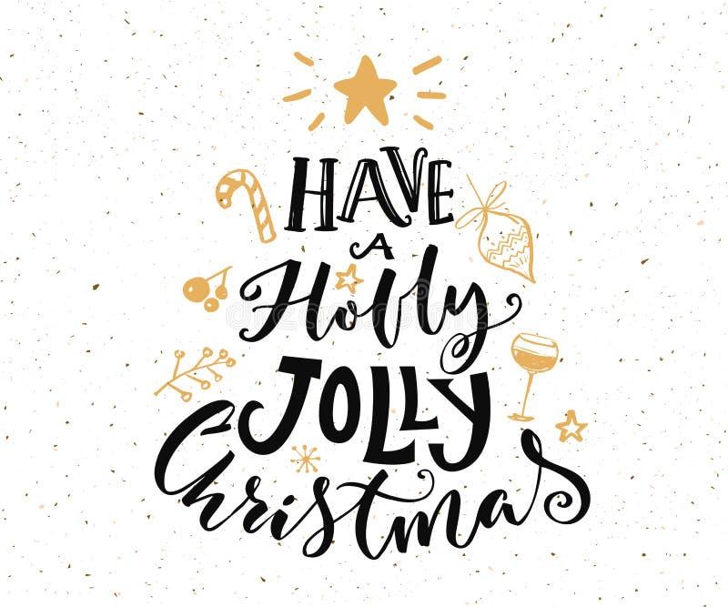 Abbia un testo allegro di Natale dell'agrifoglio Disegno della cartolina di Natale royalty illustrazione gratis
