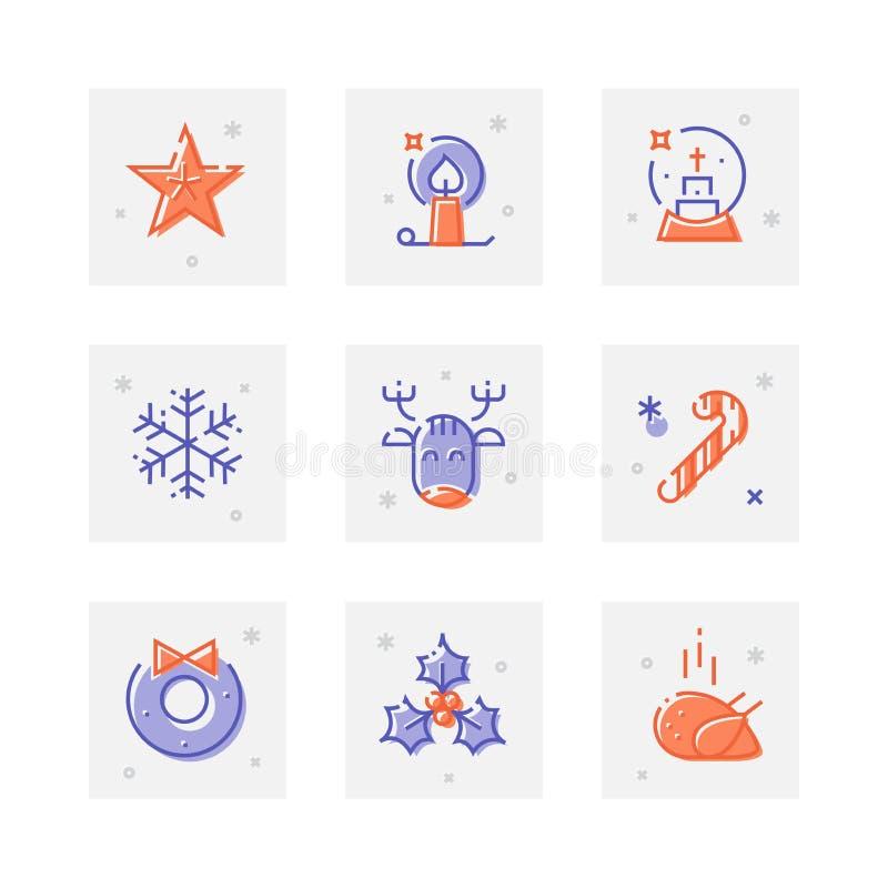 Abbia una linea spessa icona di Natale piacevole messa illustrazione vettoriale