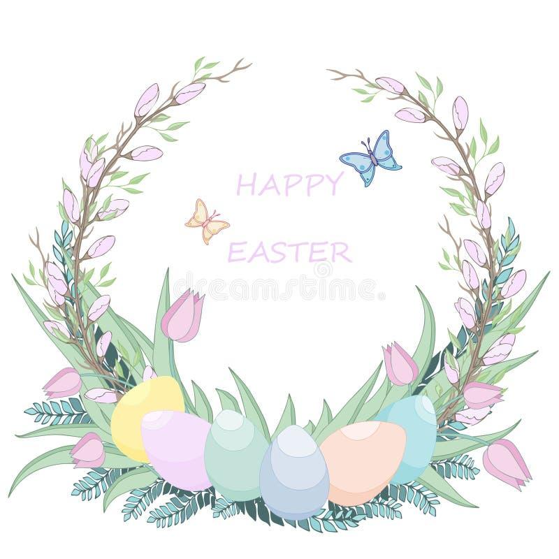 Abbia voi stessi una Pasqua molto felice Fondo ed uovo di Pasqua in erba immagini stock