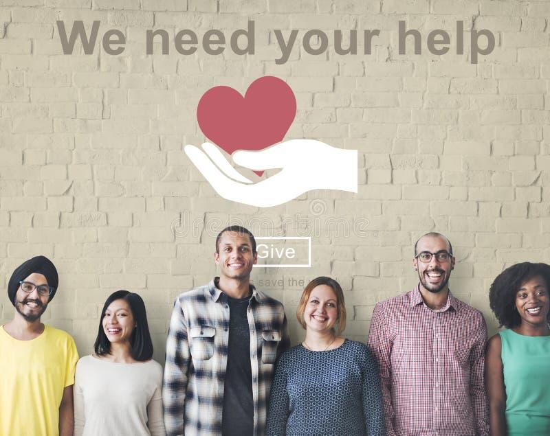 Abbiamo bisogno del vostro aiuto doniamo il concetto d'aiuto di sostegno della carità fotografia stock libera da diritti
