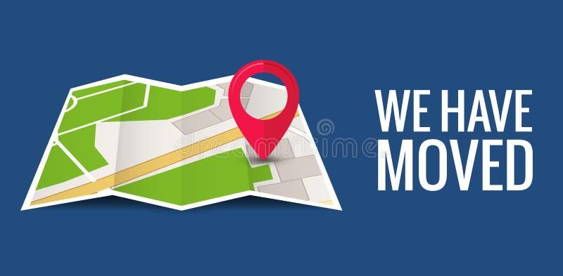 Abbiamo mosso la nuova posizione dell'icona dell'ufficio Mappa della casa di affari di annuncio di posizione del cambiamento di m royalty illustrazione gratis