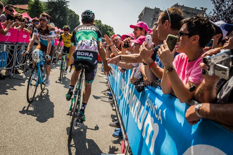Abbiategrasso, Italy May 24, 2018: Professional Cyclist Davide Formolo mets the fans. Before a hard mountain stage of the Tour of Italy 2018 royalty free stock images