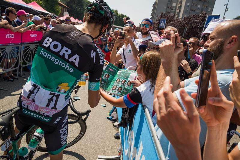 Abbiategrasso, Italy May 24, 2018: Professional Cyclist Davide Formolo mets the fans. Before a hard mountain stage of the Tour of Italy 2018 stock photos