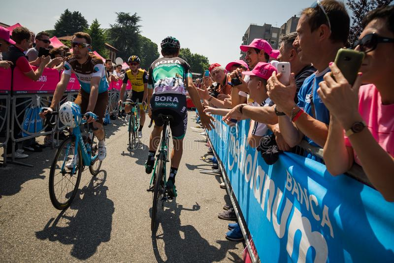 Abbiategrasso, Italy May 24, 2018: Professional Cyclist Davide Formolo mets the fans. Before a hard mountain stage of the Tour of Italy 2018 royalty free stock photo