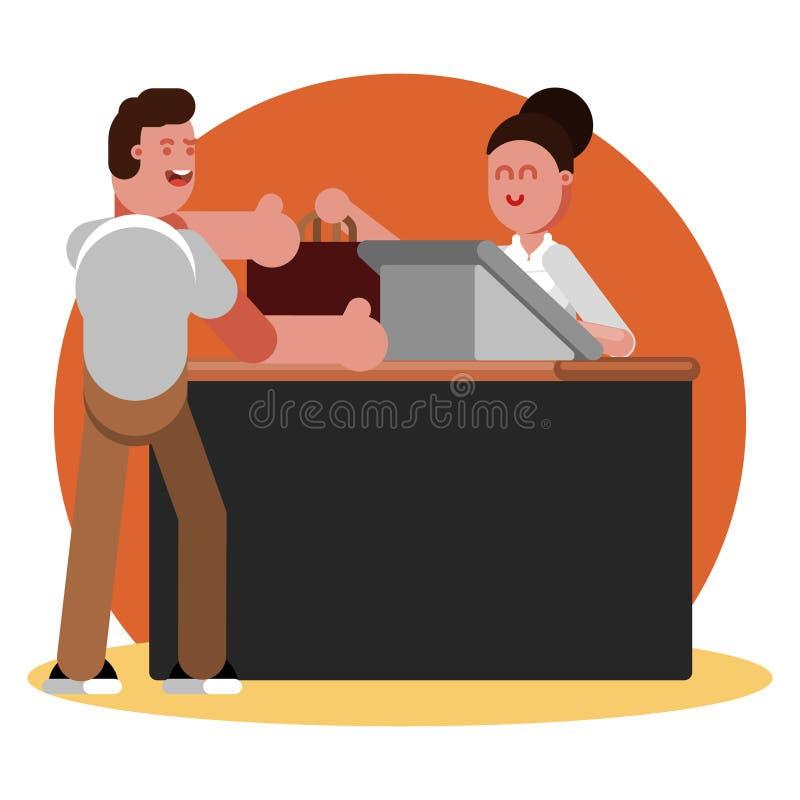 Abbigliamento dei buys dell'uomo nel negozio dell'abbigliamento illustrazione di stock