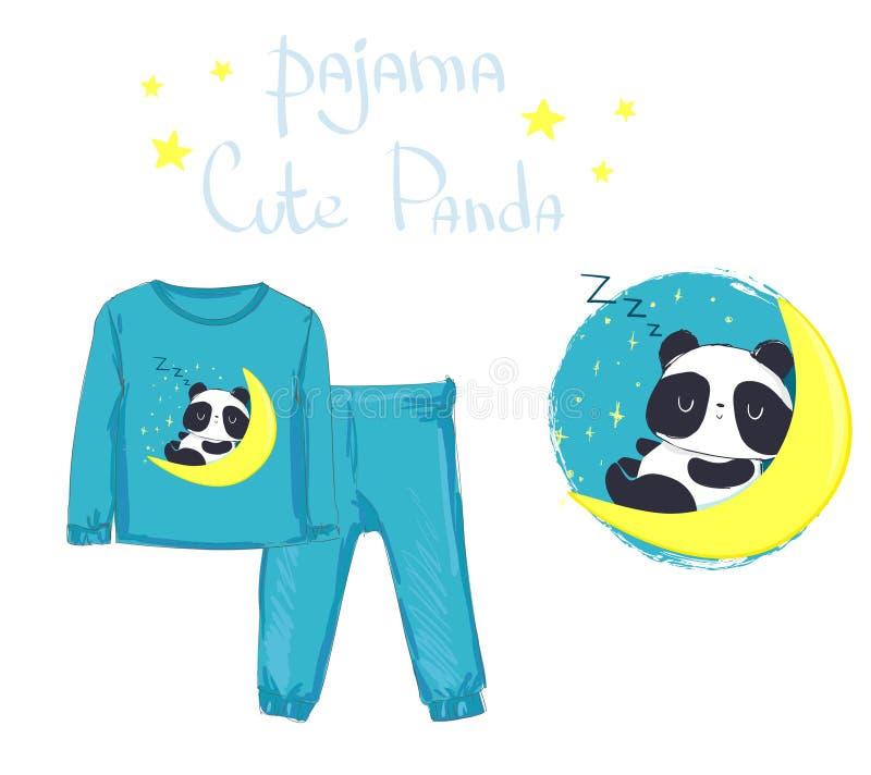 Abbigliamento del bambino di modo del pigiama dei bambini, stampa Panda Bear illustrazione di stock