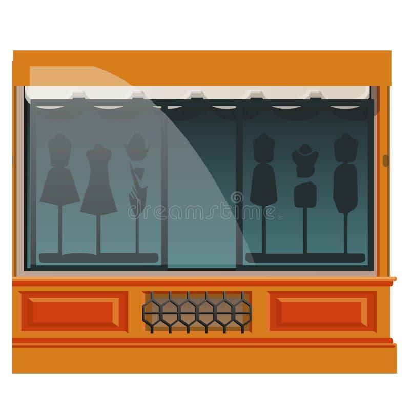 Abbigliamento del boutique o esterno di cucito dello studio isolato su fondo bianco Memoria di modo Illustrazione della costruzio royalty illustrazione gratis