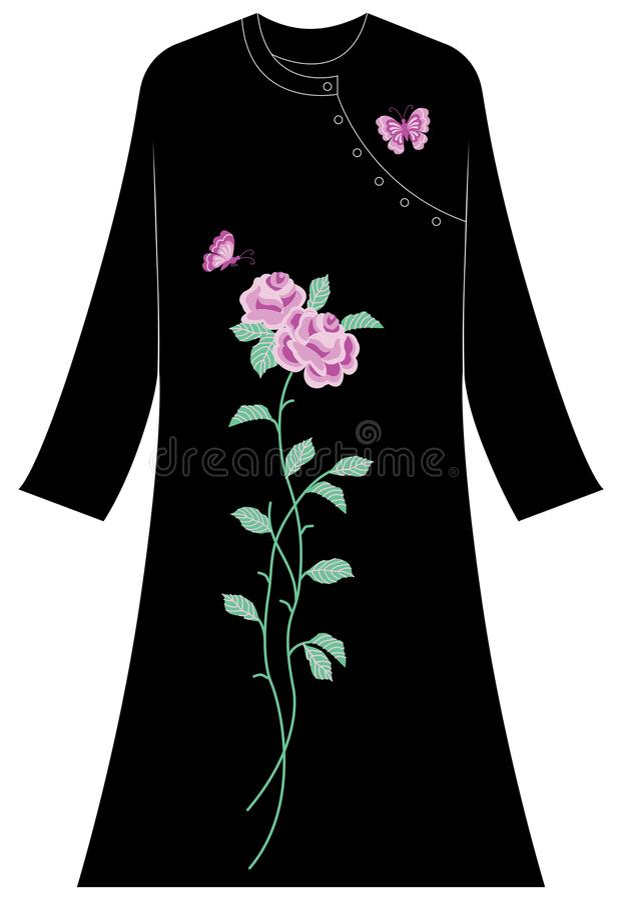Abbigliamento del ` s delle donne: Belle rose e farfalle fotografia stock libera da diritti