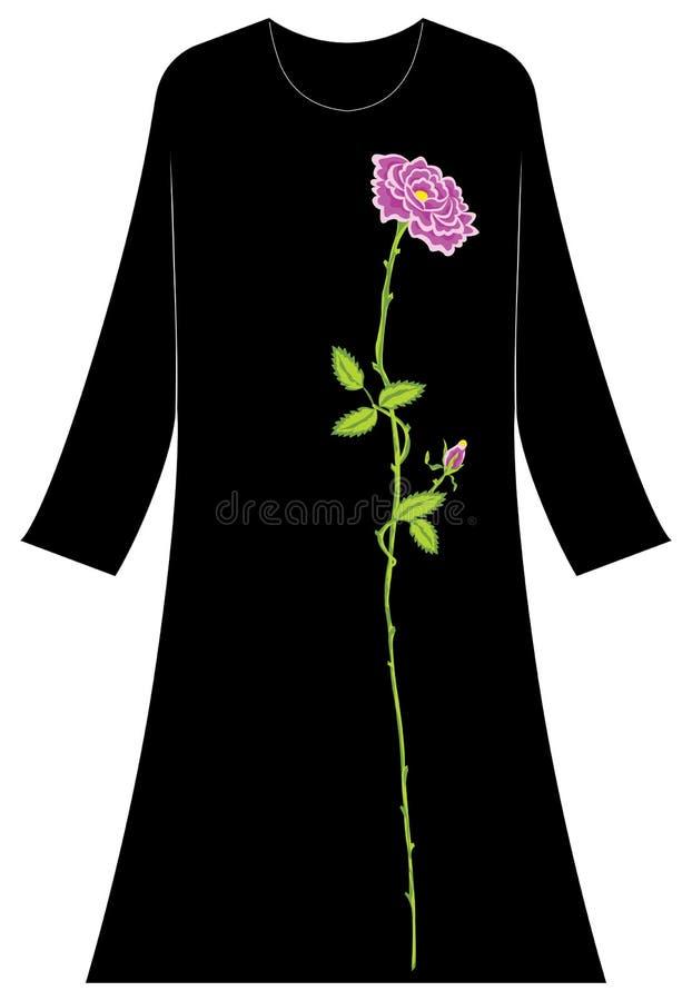 Abbigliamento del ` s delle donne: Grandi rose e piccoli germogli con gli alti gambi fotografia stock
