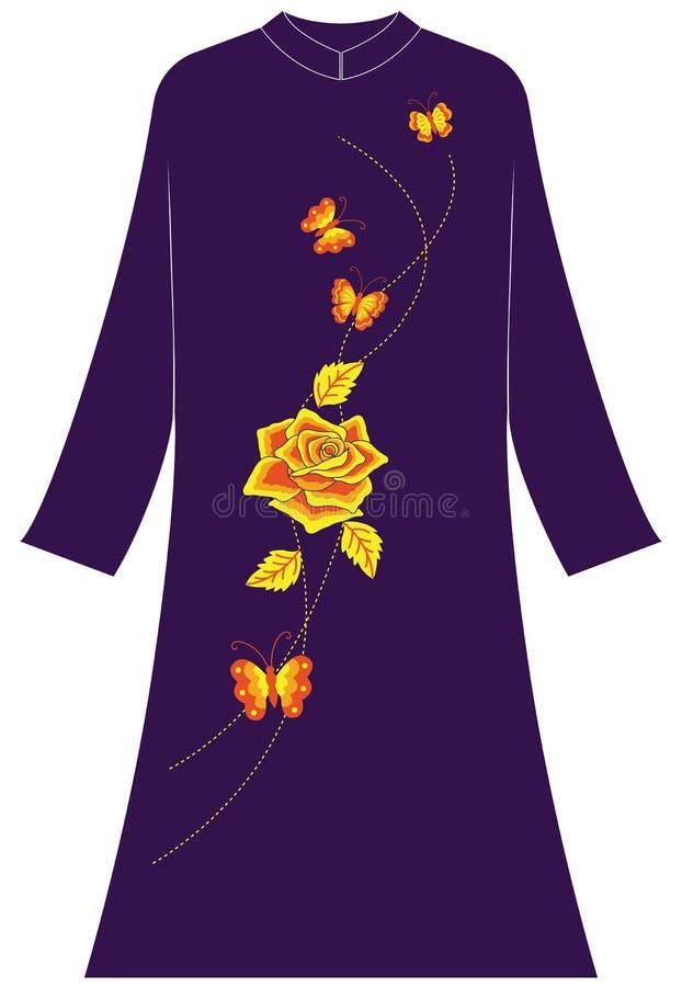Abbigliamento del ` s delle donne: rosa del oOne e quattro farfalle volanti fotografie stock