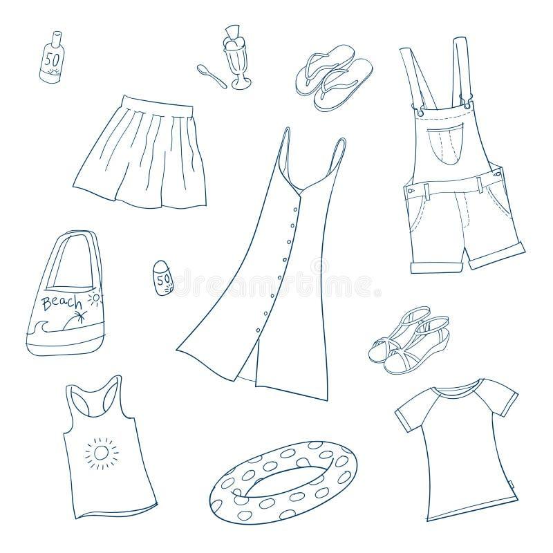 Abbigliamento delle ragazze di estate Insieme delle illustrazioni di vettore royalty illustrazione gratis