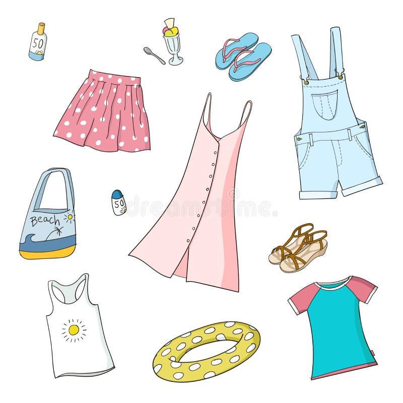 Abbigliamento delle ragazze di estate Insieme delle illustrazioni di vettore illustrazione vettoriale