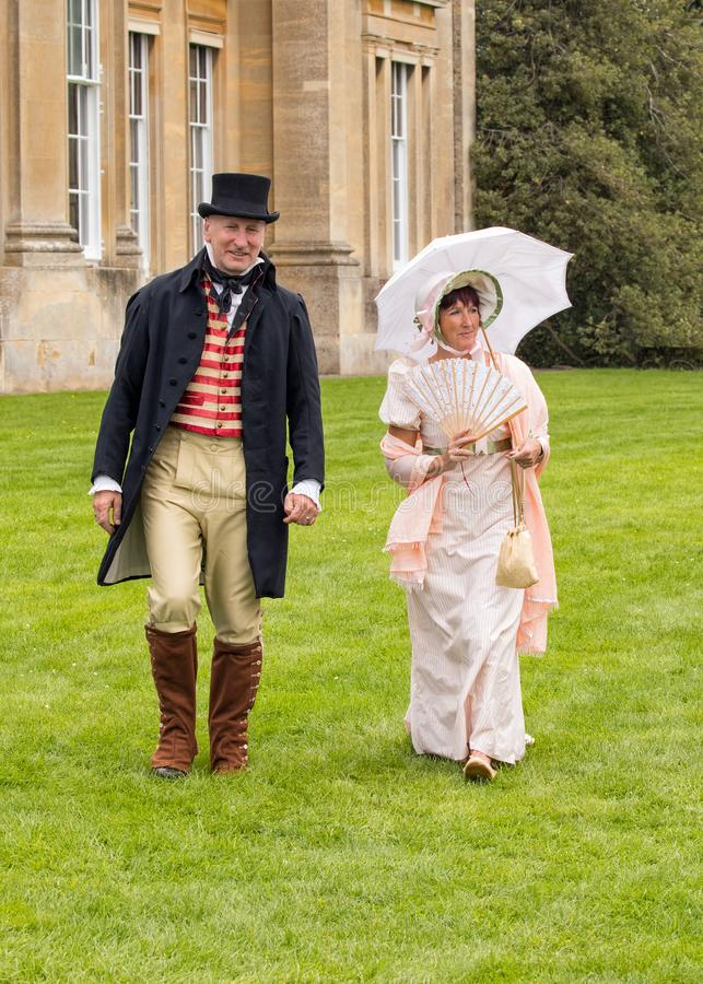Abbigliamento di Britannici Regency, Worcestershire Inghilterra fotografia stock