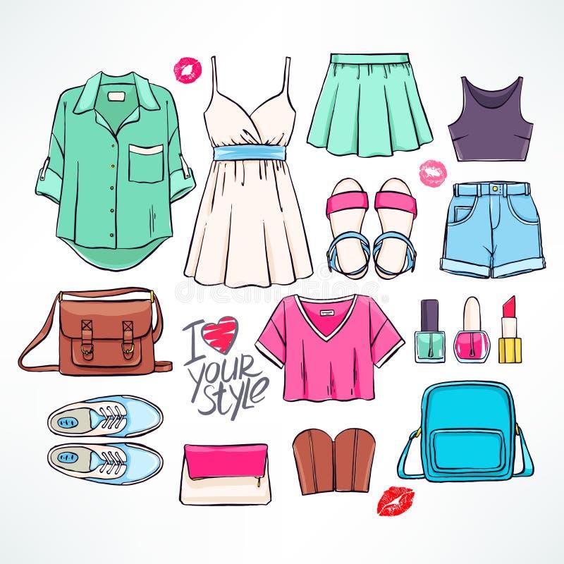 Abbigliamento di estate illustrazione vettoriale