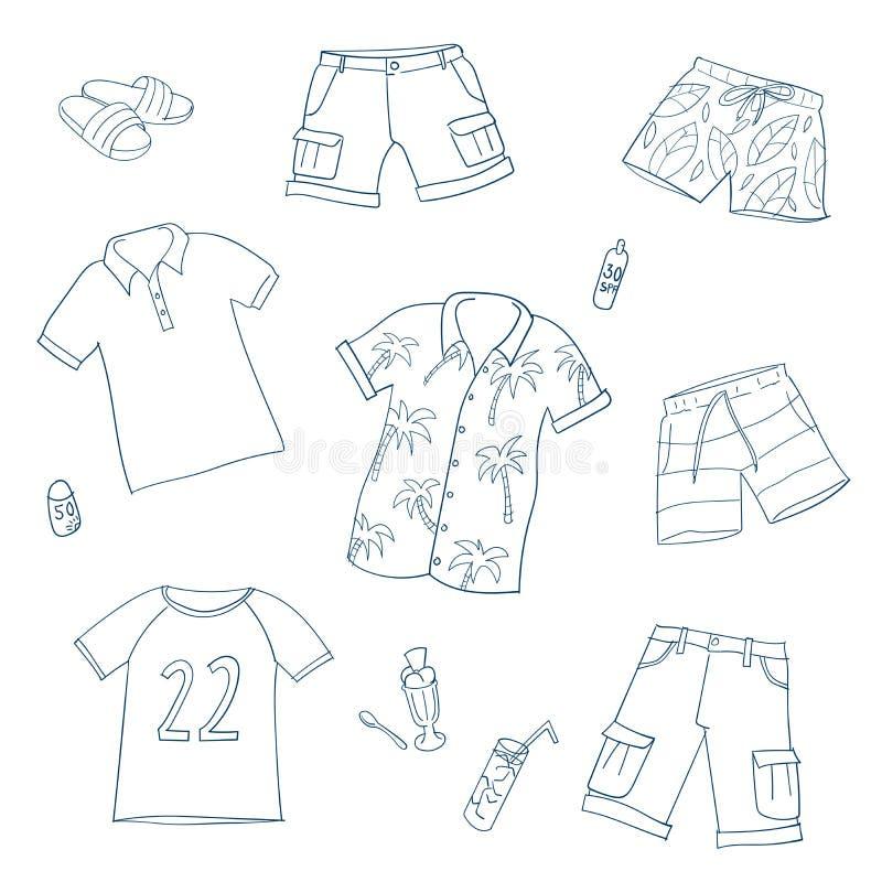 Abbigliamento di estate Insieme delle illustrazioni di vettore royalty illustrazione gratis