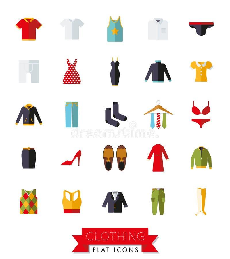Abbigliamento di progettazione ed insieme piani dell'icona di modo illustrazione vettoriale