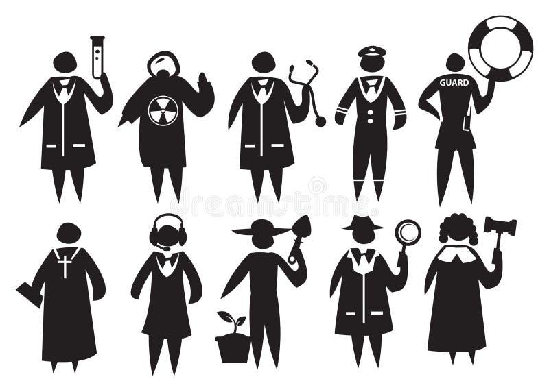Abbigliamento e uniforme dei professionisti differenti illustrazione vettoriale