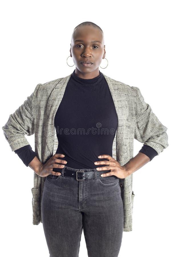 Abbigliamento femminile nero di Wearing Business Casual del modello di moda immagini stock