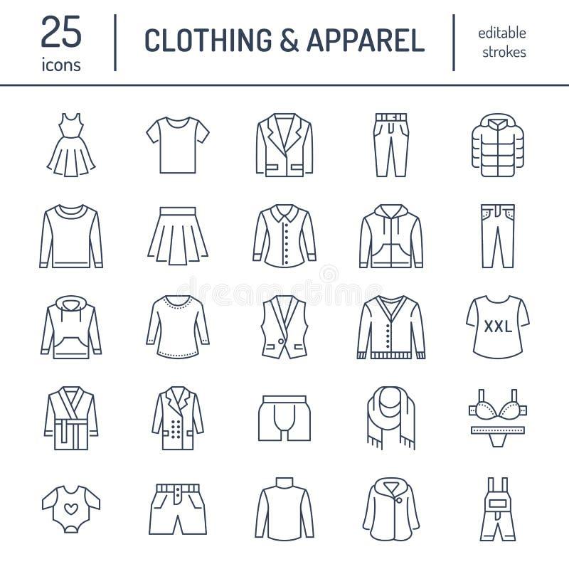 Abbigliamento, linea piana icone di fasion Uomini, l'abito delle donne - vesta, rivestimento del vestito, i jeans, la biancheria  illustrazione vettoriale