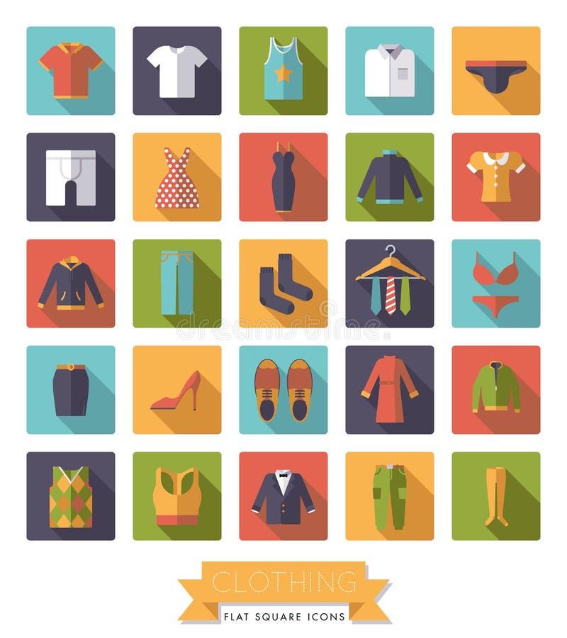 Abbigliamento piano di progettazione ed insieme quadrato dell'icona di modo royalty illustrazione gratis