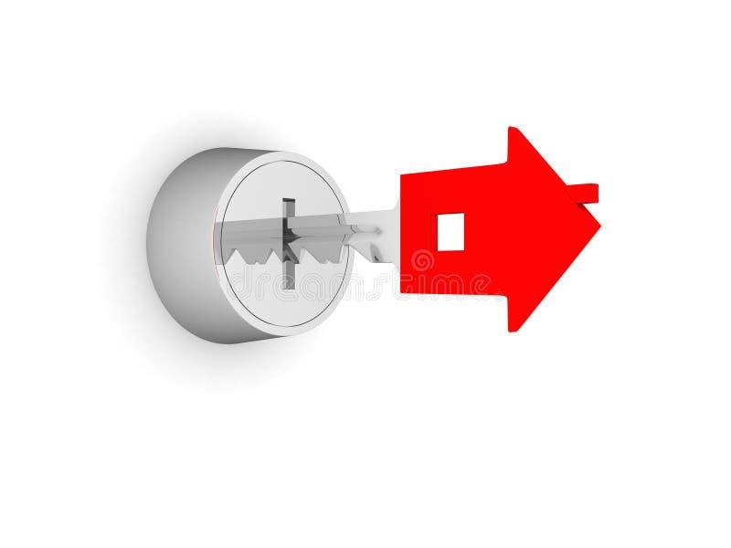Abbildung 3d der silbernen Taste im Schlüsselloch stock abbildung
