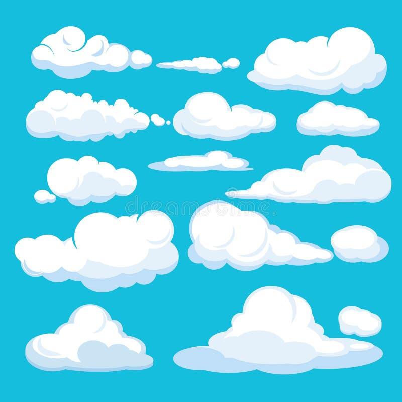 Abbildung auf blauem Hintergrund für Auslegung Blauer Himmel verschiedene Formen Luft-cloudscape blauer Wolken und Formvektorillu lizenzfreie abbildung