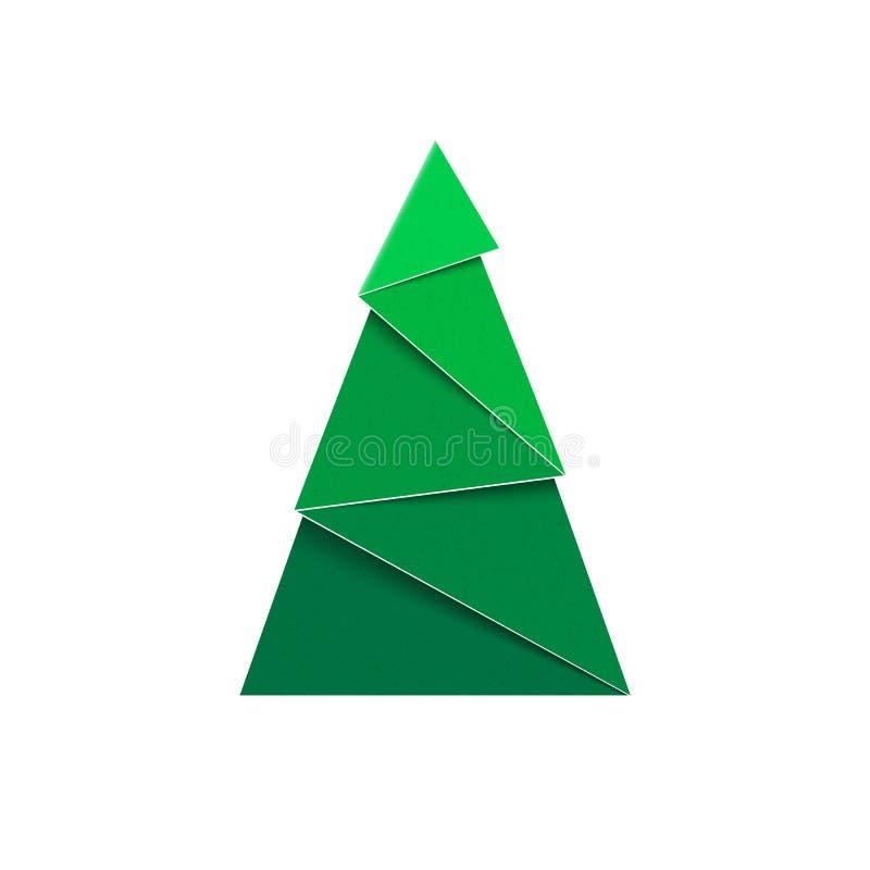 Abbildung auf rotem Hintergrund Papercraft-Grün-Tannenzeichen des neuen Jahres lizenzfreie abbildung