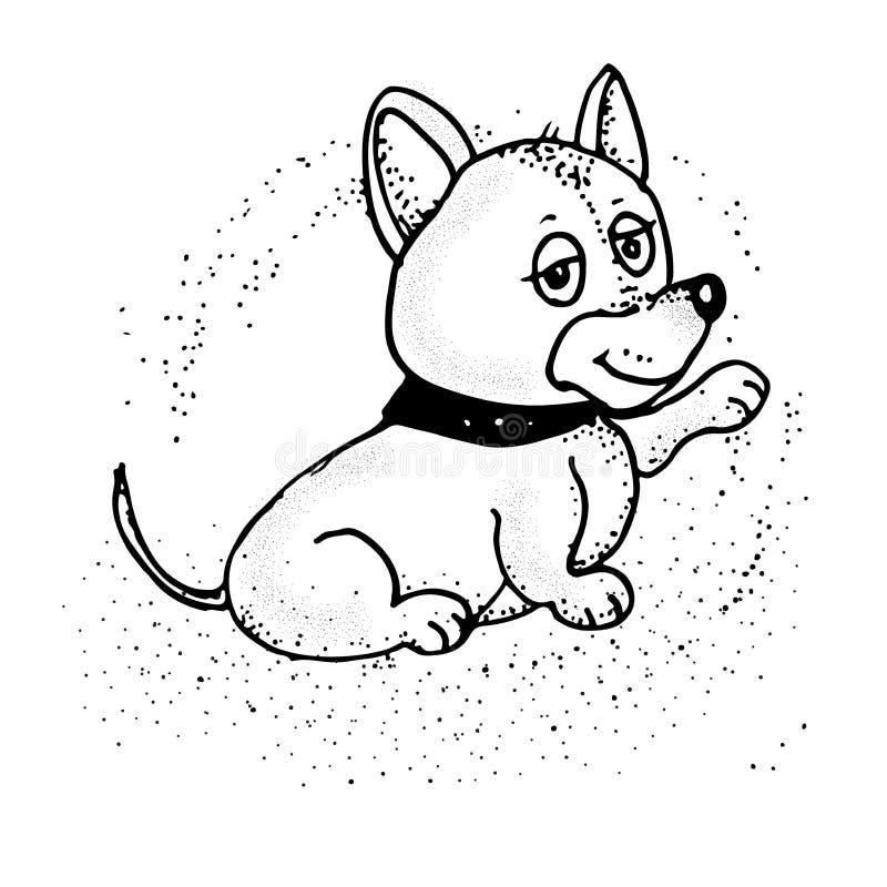 Abbildung auf weißem Hintergrund Auch im corel abgehobenen Betrag Netter Hund Emoji vektor abbildung