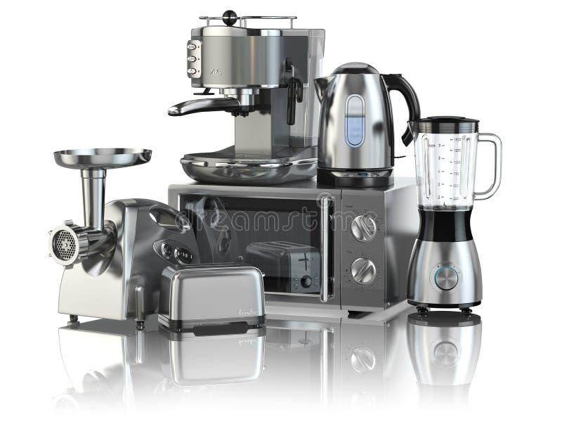 Abbildung auf weißem Hintergrund Mischmaschine, Toaster, Kaffeemaschine, Fleisch ginde stock abbildung