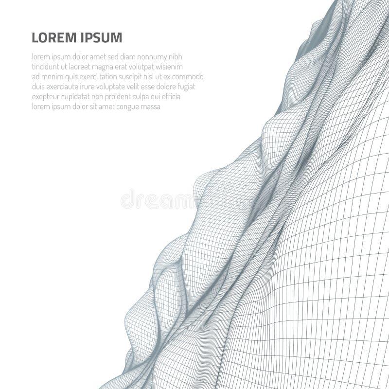 Abbildung 3D Abstrakte Landschaft auf einem weißen Hintergrund Cyberspacegitter stock abbildung