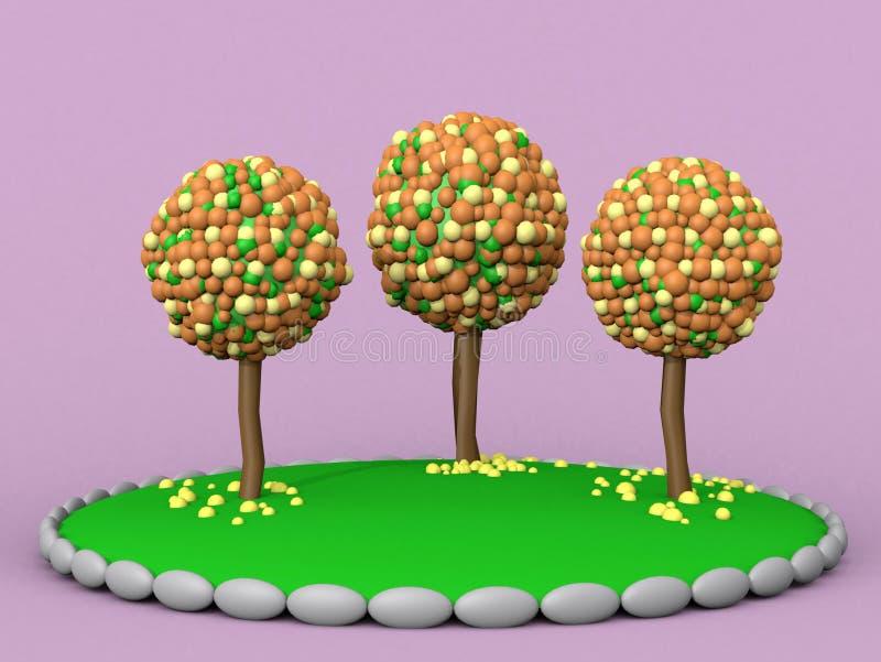 Abbildung 3D Baum des Plasticine drei auf einem rosa Hintergrund lizenzfreie abbildung