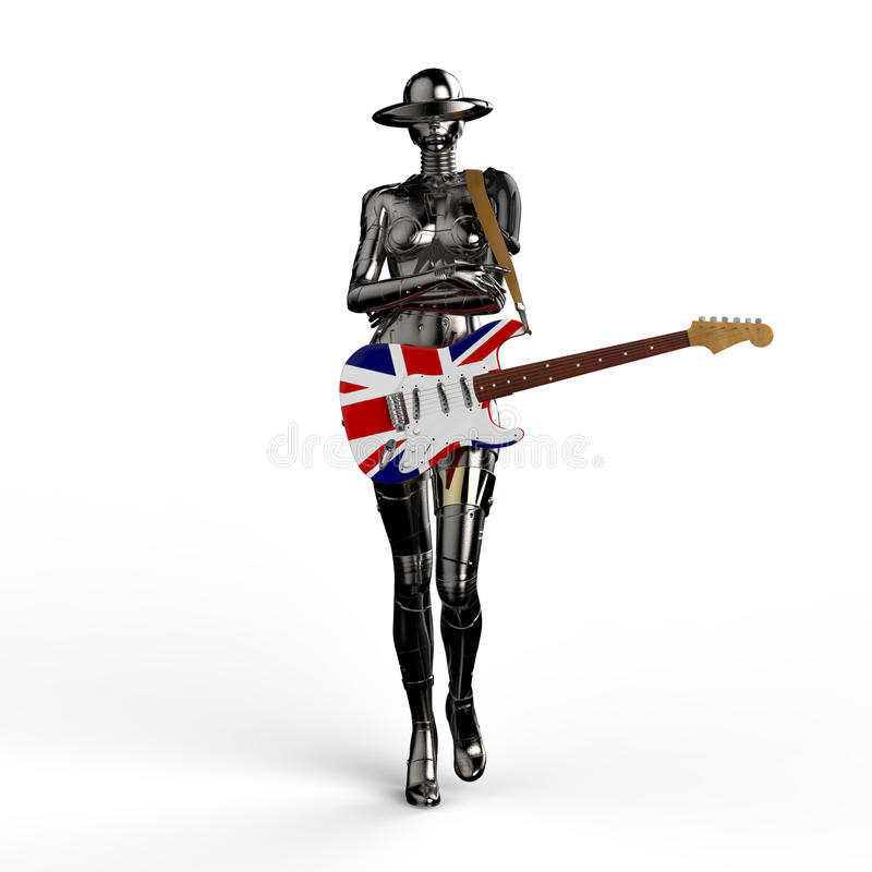 Abbildung 3D Der stilvolle chromeplated Cyborg die Frau vektor abbildung
