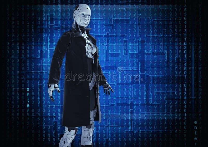 Abbildung 3D Der stilvolle Cyborg die Frau vektor abbildung