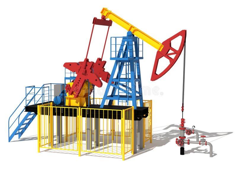 Abbildung 3D Die Ölpumpe Rot, blau, Gelb Ansicht 1 vektor abbildung