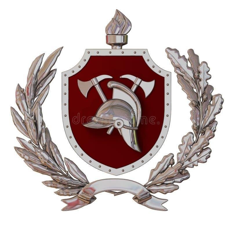 Abbildung 3D Emblem von Feuerwehrmännern Silberner antiker Sturzhelm, Äxte, rotes Schild, Ölzweig, Eichenniederlassung, Band stock abbildung