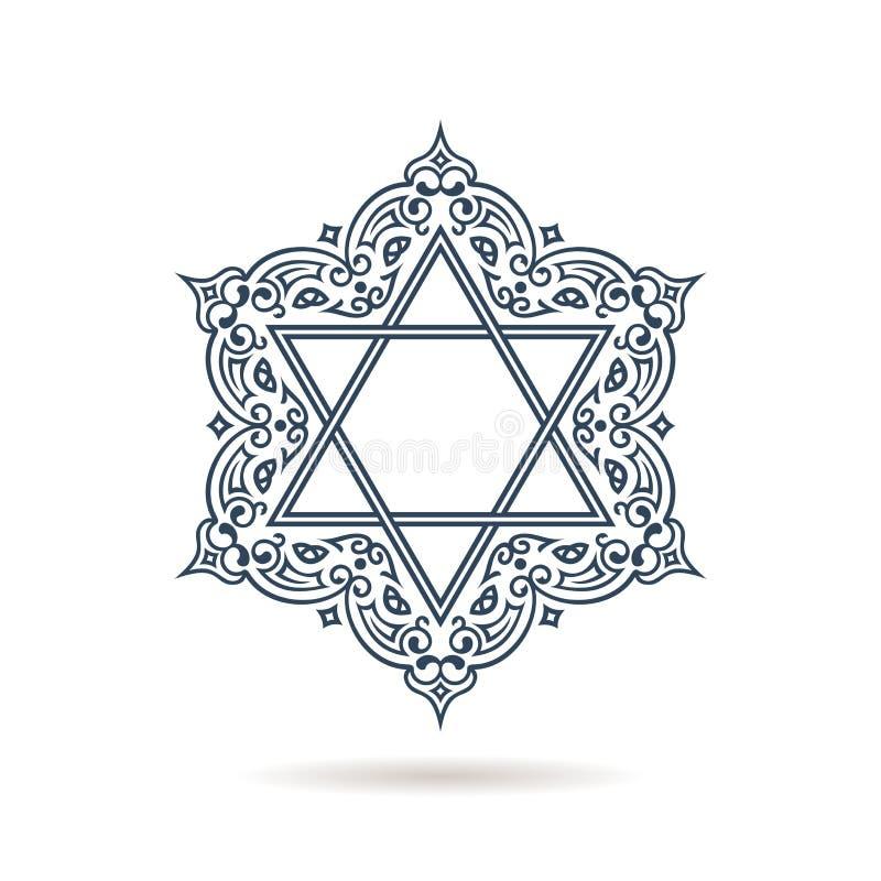Abbildung 3D Jüdische Verzierung des Vektors Blaue Ikone auf weißem Hintergrund lizenzfreie abbildung