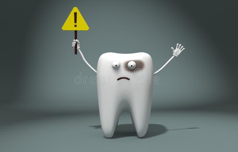 Abbildung 3D Kranke Zahnwellen ein Ausrufezeichen, erregt Aufmerksamkeit lizenzfreie abbildung