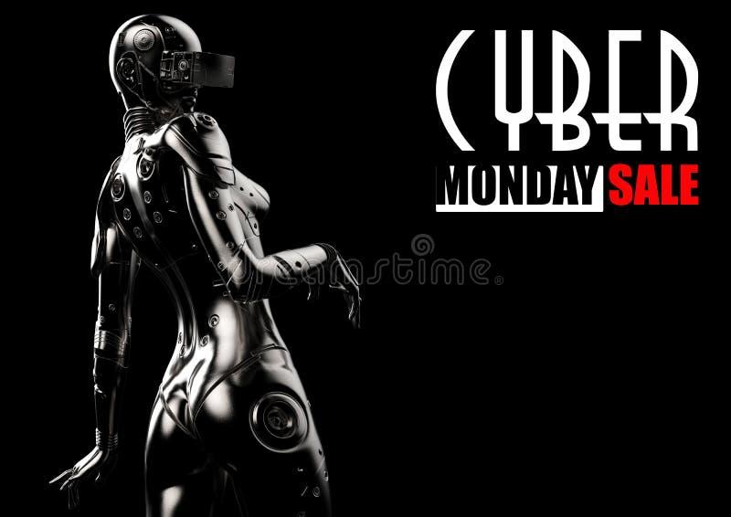 Abbildung 3D Stilvoller Cyborg die Frau vektor abbildung
