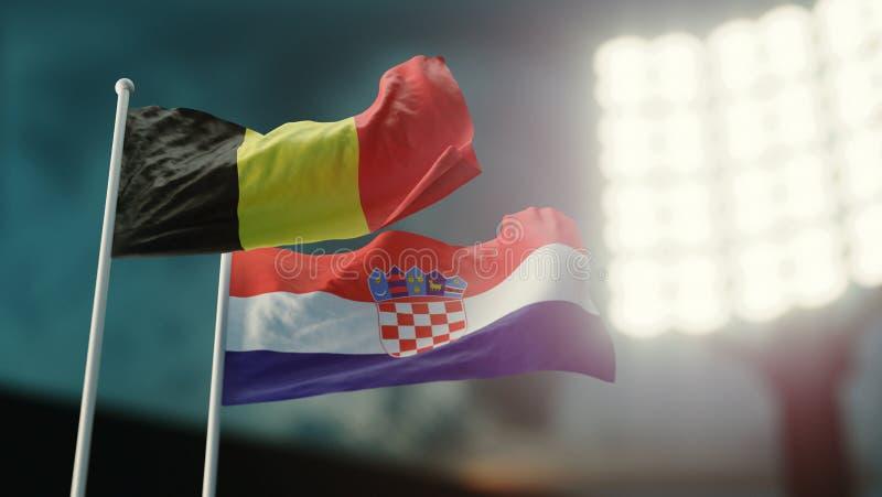 Abbildung 3D Zwei Staatsflaggen, die auf Wind wellenartig bewegen Nachtstadion Meisterschaft 2018 Fußball Belgien gegen Kroatien vektor abbildung