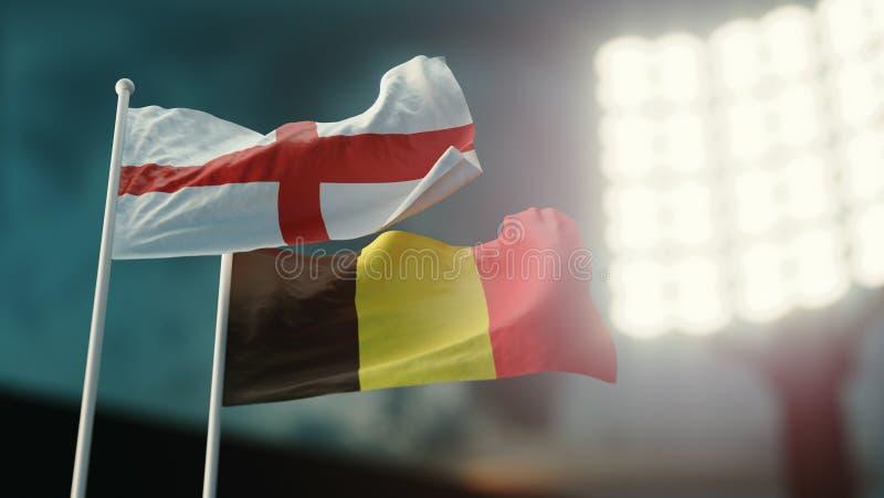 Abbildung 3D Zwei Staatsflaggen, die auf Wind wellenartig bewegen Nachtstadion Meisterschaft 2018 Fußball England gegen Belgien lizenzfreie abbildung