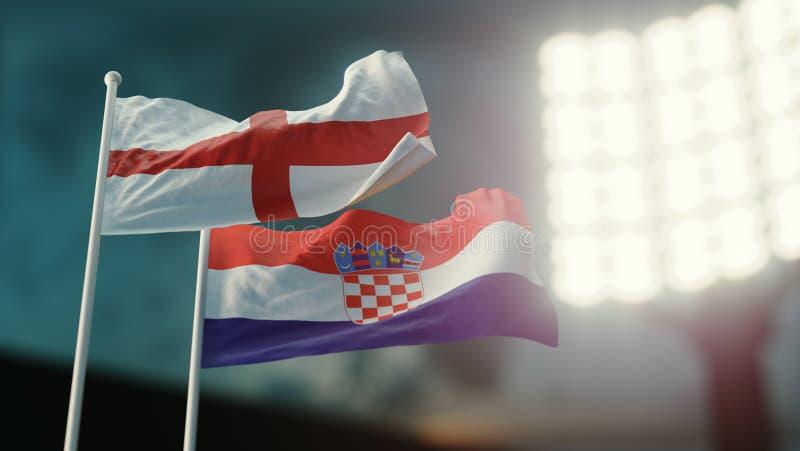 Abbildung 3D Zwei Staatsflaggen, die auf Wind wellenartig bewegen Nachtstadion Meisterschaft 2018 Fußball England gegen Kroatien stock abbildung