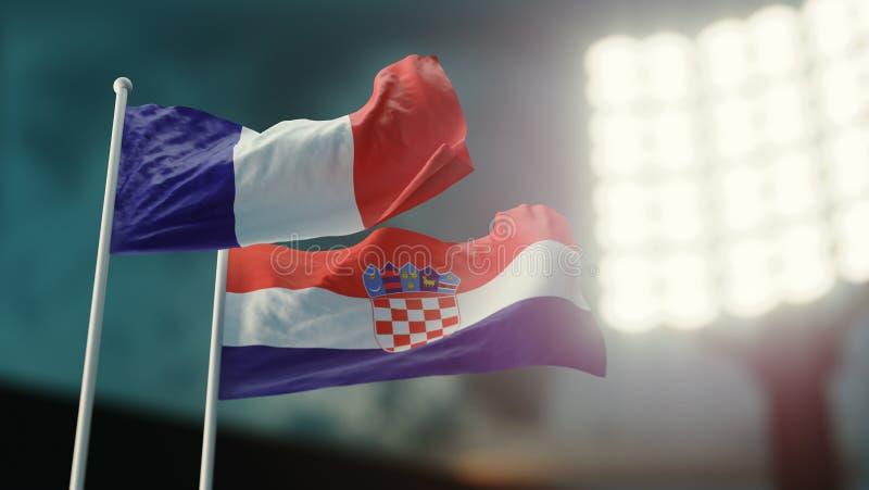 Abbildung 3D Zwei Staatsflaggen, die auf Wind wellenartig bewegen Nachtstadion Meisterschaft 2018 Fußball Frankreich gegen Kroati lizenzfreie abbildung