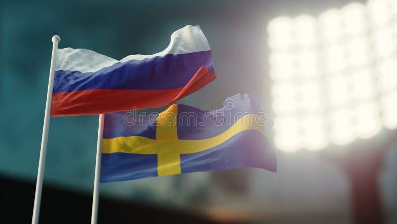 Abbildung 3D Zwei Staatsflaggen, die auf Wind wellenartig bewegen Nachtstadion meisterschaft Fußball hockey Russland gegen Schwed lizenzfreie abbildung