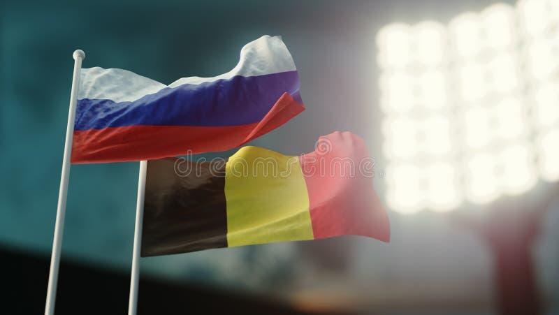 Abbildung 3D Zwei Staatsflaggen, die auf Wind wellenartig bewegen Nachtstadion Meisterschaft 2018 Fußball Russland gegen Belgien lizenzfreie abbildung