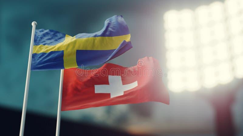 Abbildung 3D Zwei Staatsflaggen, die auf Wind wellenartig bewegen Nachtstadion Meisterschaft 2018 Fußball Schweden gegen die Schw lizenzfreies stockfoto